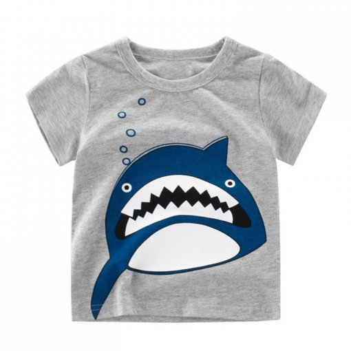 Fashion Cartoon Printed Children Summer Clothes Pure Cotton Boys T-Shirt