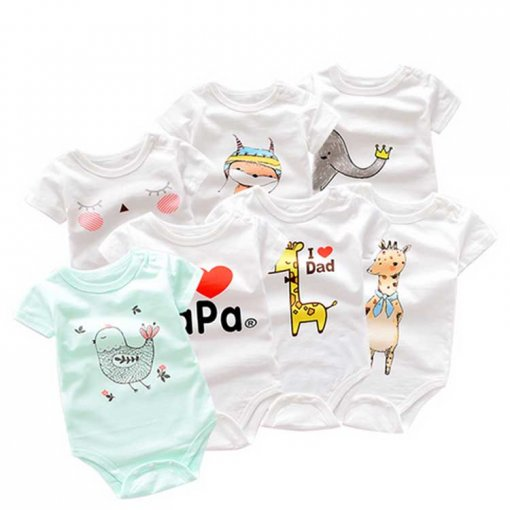 Summer Newborn Clothes 100% Cotton Baby Romper 3-24 Months 4 -Piece Set Bodysuit