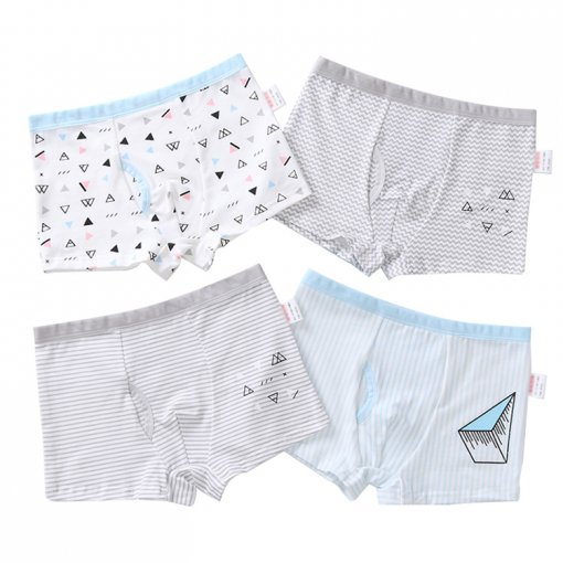 Children Underwear Breathable Cotton Kids Panties Four Packs Print Boys Boxer Briefs
