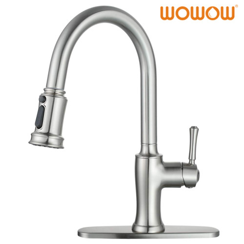 WOWOW Brushed Nickel Pull Down Kitchen Faucet
