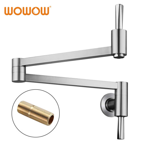 Single Lever Pot Filler Wall Mounted Brushed Nickel