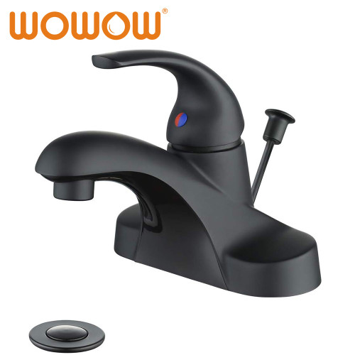 Single Handle Centerset Bathroom Faucet Black