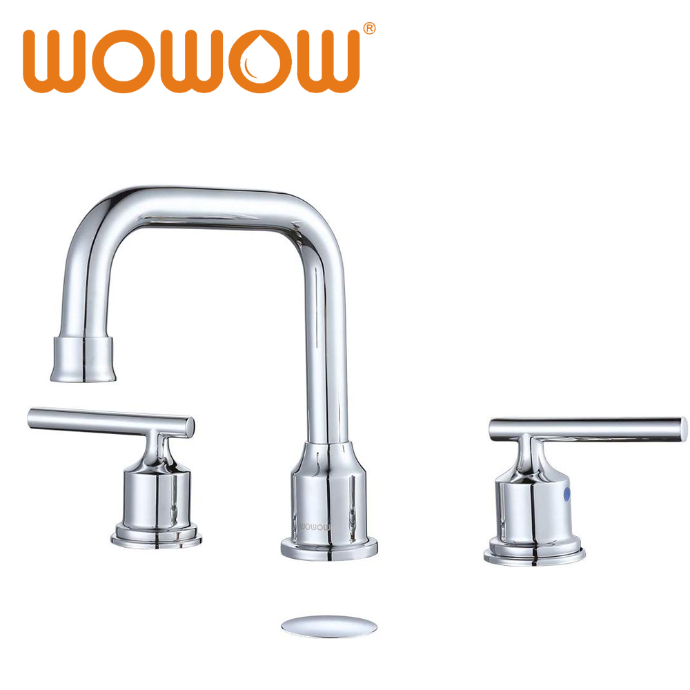 Wowow Two Handles Widespread Bathroom Faucet Black 3 Pieces Basin Faucets 360 Degree Swivel Spout Lavatory