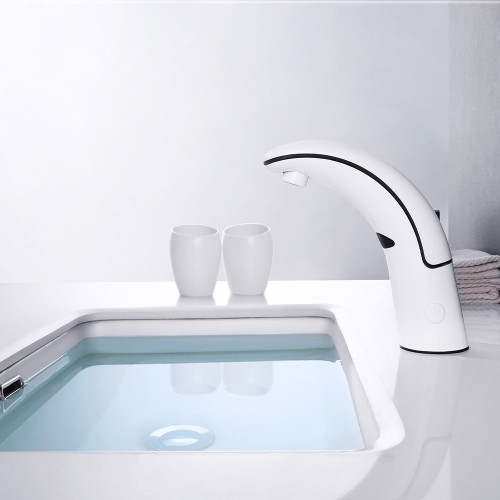 Automatic Basin Mixer Tap White Single Cold Water
