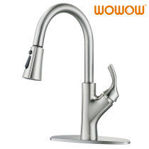 Brushed Nickel Kitchen Faucet With Pull Down Sprayer