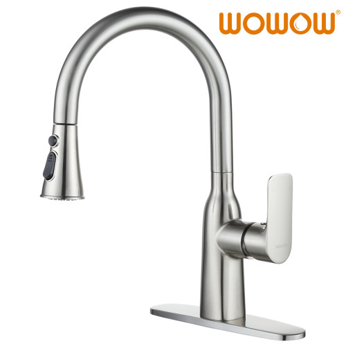 High Arc Single Hole Kitchen Faucet Brushed Nickel