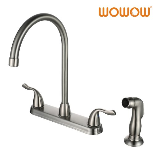 Wowow Kitchen Faucet With Sprayer High Arch Stainless Steel 2 Handle 4 Hole Brushed Nickel 23118a4