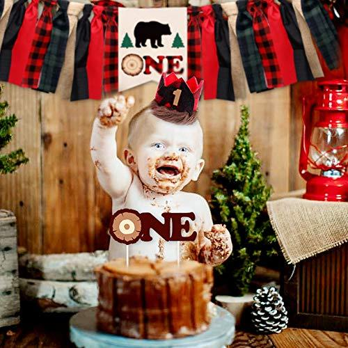 Wild one year old birthday party banner camping sleepover high chair sign buffalo plaid lumberjack print baby reindeer bear outdoors