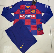 Barcelona 19/20 LS Kids Home Soccer Jersey and Short Kit