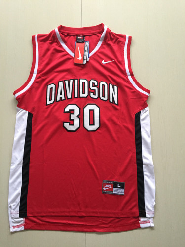 Stephen Curry 30 Davidson College Red Basketball Jersey