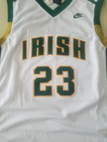 LeBron James 23 Irish High School White Basketball Jersey