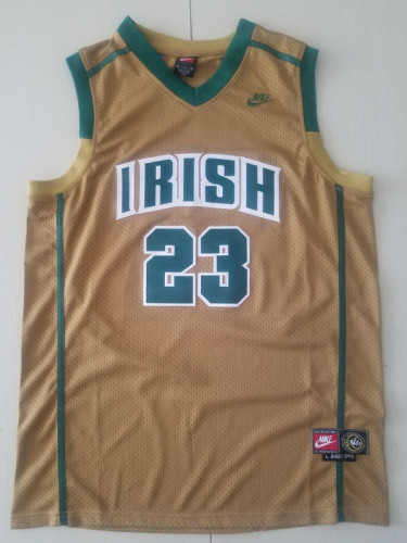 LeBron James 23 Irish High School Yellow Basketball Jersey
