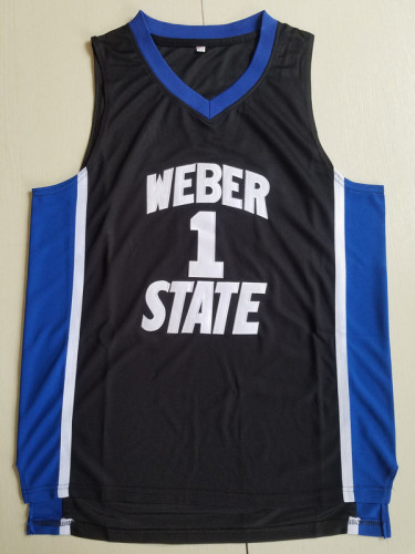 Damian Lillard 1 Weber State College Black Basketball Jersey