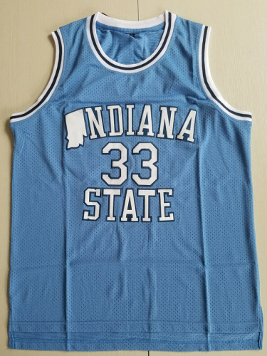 Larry Bird 33 Indiana State College Light Blue Basketball Jersey