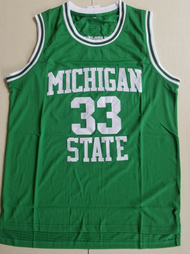 Magic Johnson 33 Michigan State College Green Basketball Jersey