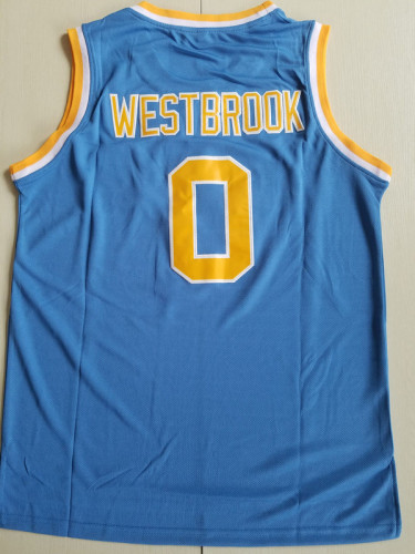 Russell Westbrook 0 UCLA College Light Blue Basketball Jersey