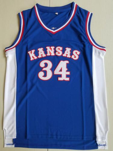 Paul Pierce 34 Kansas College Blue Basketball Jersey