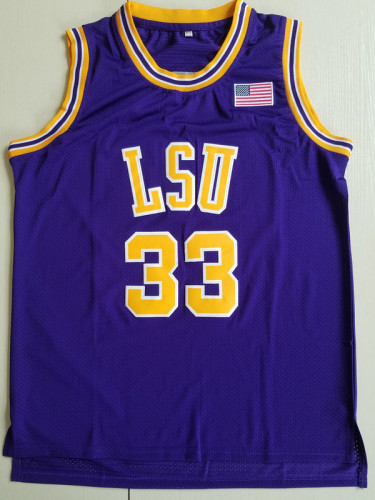 Shaquille O'Neal 33 LSU College Purple Basketball Jersey