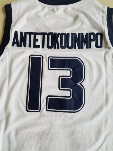 Giannis Antetokounmpo 13 Greece College White Basketball Jersey