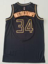 Milwaukee Bucks Giannis Antetokounmpo 34 Black Golden Edition Jersey