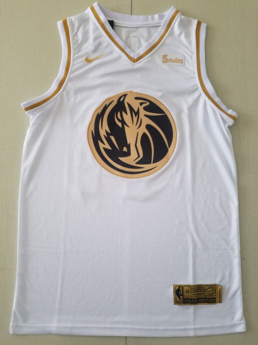 Dallas Mavericks Luka Dončić 77 White Golden Edition Jersey
