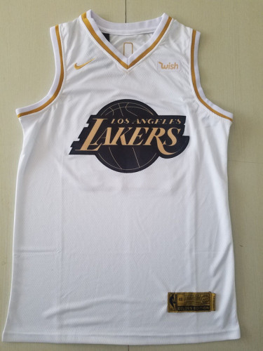 Los Angeles Lakers LeBron James 23 White Golden Edition Jersey