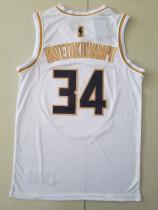 Milwaukee Bucks Giannis Antetokounmpo 34 White Golden Edition Jersey