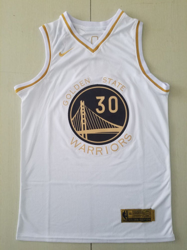 Golden State Warriors Stephen Curry 30 White Golden Edition Jersey