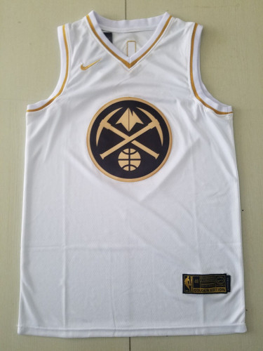 Denver Nuggets Nikola Jokic 15 White Golden Edition Jersey