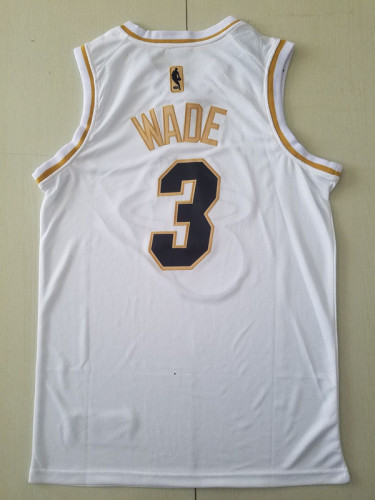 Miami Heat Dwyane Wade 3 White Golden Edition Jersey