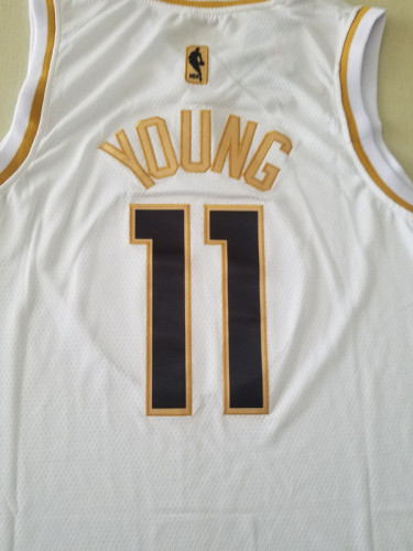 Trae Young 11 White Golden Edition Jersey