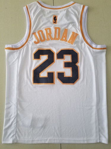 Chicago Bulls Michael Jordan 23 White Golden Edition Jersey