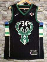 Milwaukee Bucks Giannis Antetokounmpo 34 Black Basketball Club Jersey
