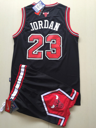 Chicago Bulls Michael Jordan 23 Black Retro Classics Basketball Jersey Kit