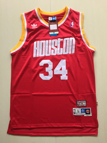 Houston Rockets Hakeem Olajuwon 34 Red Throwback Classics Jerseys
