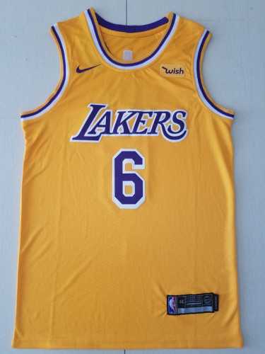 Los Angeles Lakers LeBron James 6 Yellow Basketball Club Player Jerseys