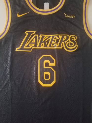 Los Angeles Lakers LeBron James 6 Black City Edition Basketball Club Jerseys