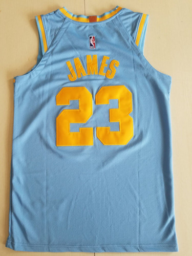 Los Angeles Lakers LeBron James 23 light Blue Throwback Classics Jersey