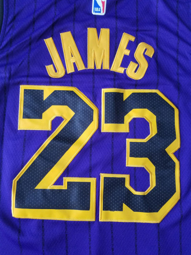 Los Angeles Lakers LeBron James 23 Purple City Edition Basketball Club Jerseys