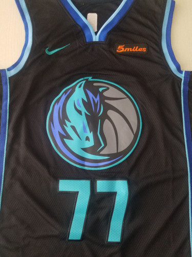 Dallas Mavericks Luka Dončić 77 Navy Blue City Edition Basketball Club Jerseys