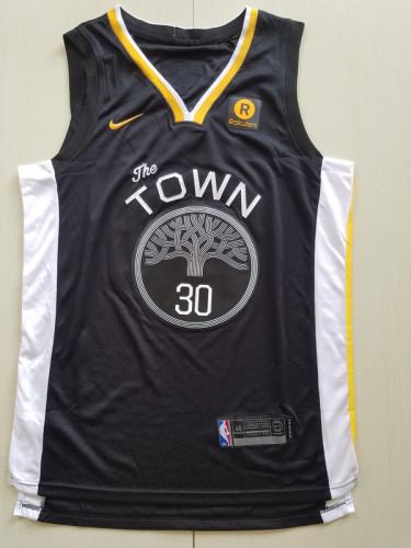 Golden State Warriors Stephen Curry 30 Black Finals Retro Basketball Club Jerseys
