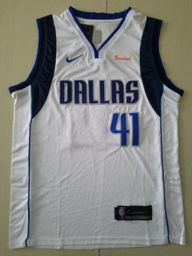 Dallas Mavericks Dirk Nowitzki 41 White Basketball Club Player Jerseys