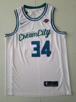 Milwaukee Bucks Giannis Antetokounmpo 34 White City Edition Basketball Club Jerseys