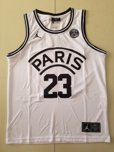 PSG Michael Jordan White Basketball Jerseys
