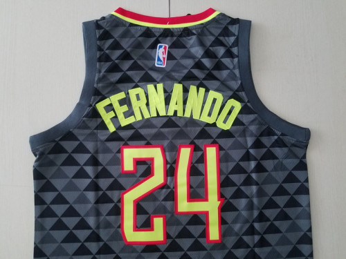 Atlanta Hawks Bruno Fernando 24 Black Basketball Club Player Jerseys