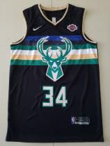 Milwaukee Bucks Giannis Antetokounmpo 34 Black Basketball Club Player Jerseys