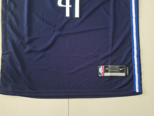 Dallas Mavericks Dirk Nowitzki 41 Navy Blue City Edition Basketball Club Jerseys