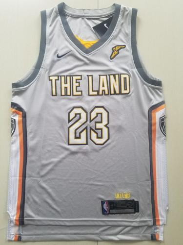 Cleveland Cavaliers LeBron James 23 Gray Retro City Edition Basketball Jerseys