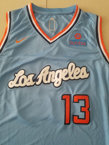 Los Angeles Clippers Paul George 13 Light Blue Noche Latina Basketball Jerseys