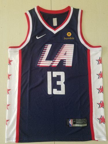 Los Angeles Clippers Paul George 13 Navy Blue City Edition Basketball Club Jerseys